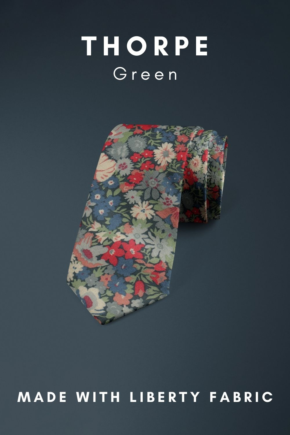 Green Thorpe Liberty of London cotton fabric floral tie