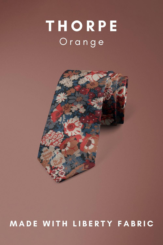 Thorpe Orange Liberty of London cotton fabric floral tie