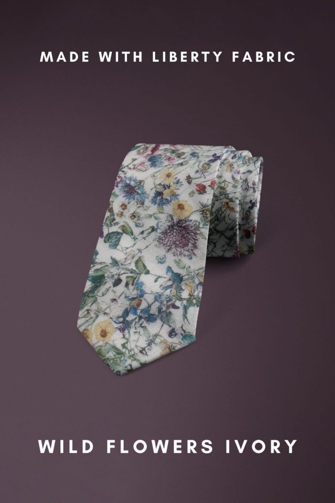 Wild Flowers Ivory Liberty of London floral cotton tie