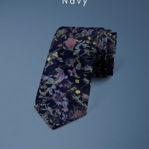 Wild Flowers Navy Liberty of London cotton fabric floral tie